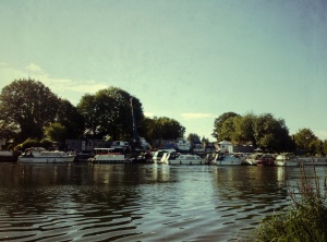 Boat repairers on the River Thames at Chertsey